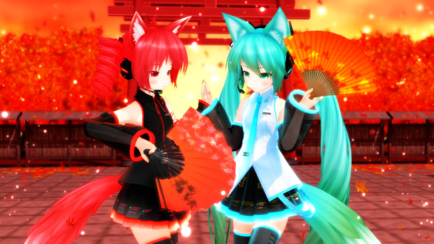 狐と紅葉の舞