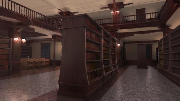 背景素材「図書館」