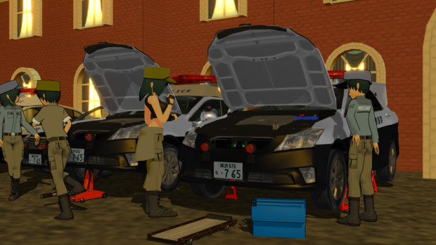 警察の車両整備風景