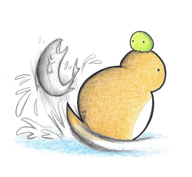 鮭獲るツチノコ わにねこwithくまこ さんのイラスト ニコニコ静画