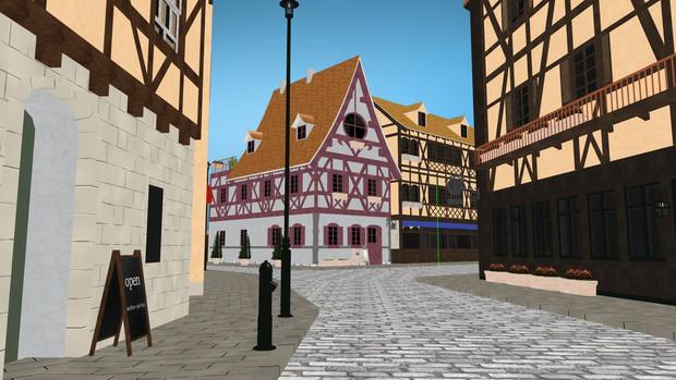 【MMDステージ配布】木組みの家と石畳の町-ラビットハウス-