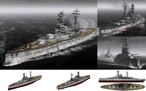 MMD用モブ超弩級戦艦1939(モヴェンジ)セット