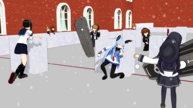 文月達と雪合戦!