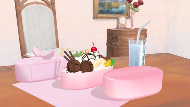 【配布】チョコレートパフェ丼とお弁当の包み