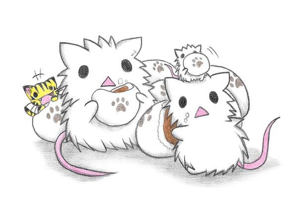 あんまんを食べる白ネズミ