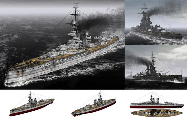 MMD用モブ超弩級戦艦1915(アイアンモーブ)セット