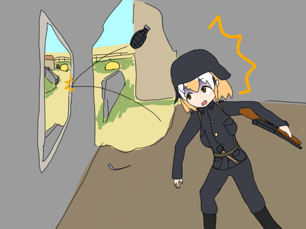 手榴弾を投げ損ねるルル
