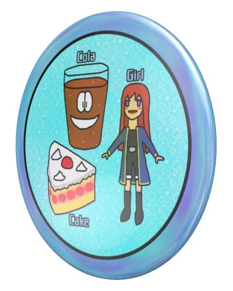 こけし(コーラ、ケーキ、少女)のパールコイン