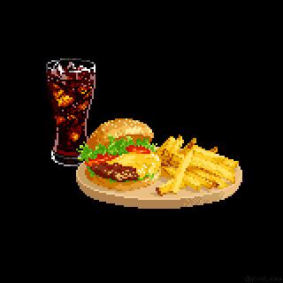 【ドット絵】ハンバーガーセット