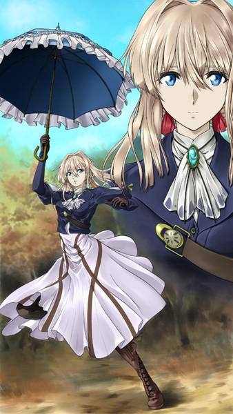 傘を持って踊るヴァイオレット・エヴァーガーデン
