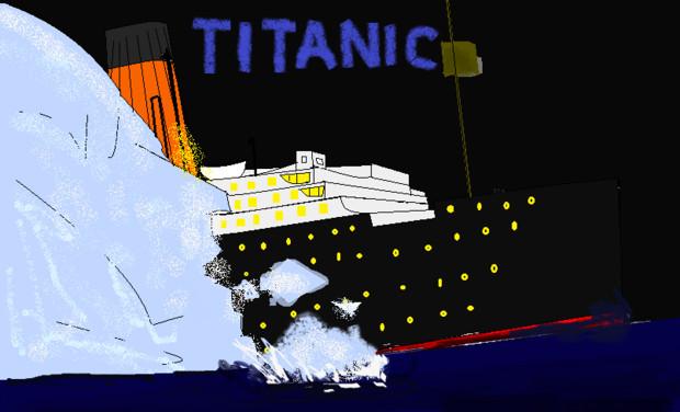 タイタニック 氷山へ接触