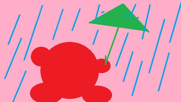 雨の中の赤丸