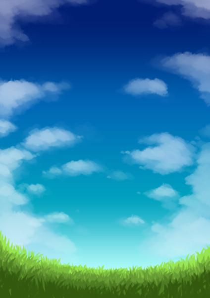 フリー素材:緑の草原から見上げる青い空白い雲それは君が見た光