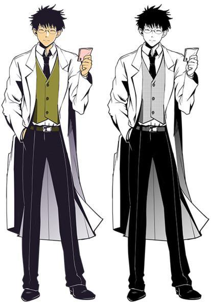 フリー素材白衣に眼鏡の男性キャラ立ち絵 はよせな さんのイラスト