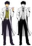 【フリー素材】白衣に眼鏡の男性キャラ立ち絵
