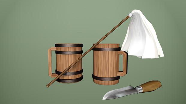 【MMD-OMF8】はたきとウッドマグと古びたナイフ