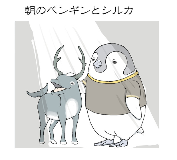 朝のペンギンとシルカ