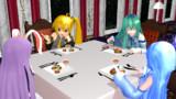 夕食:オードブル:イギリスパンのエビとキャビア添え、サーモン、ゼリー