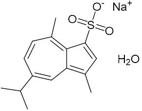 アズレンスルホン酸ナトリウム水和物の構造式