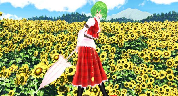 向日葵畑で微笑む彼女