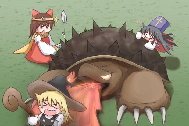改造したカミツキガメと戦うサケノミ達
