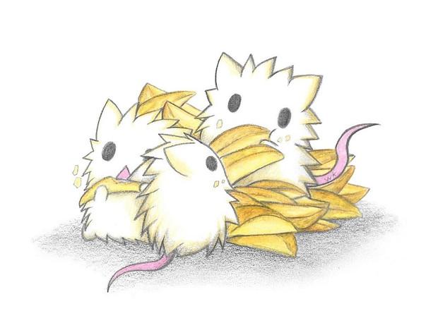 フライドポテトを食べるネズミ達