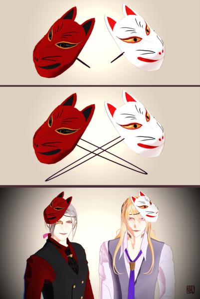 狐面(白・赤)