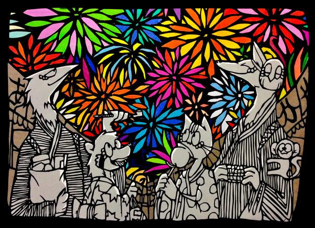 切り絵「花火祭」オリキャラ アナログ