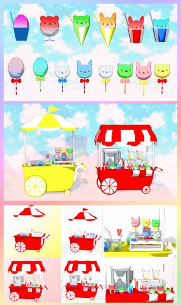 【MMD】どうぶつわた菓子とかき氷のワゴン【アクセサリ配布】