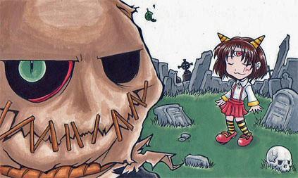 墓場と案山子と三目の女の子