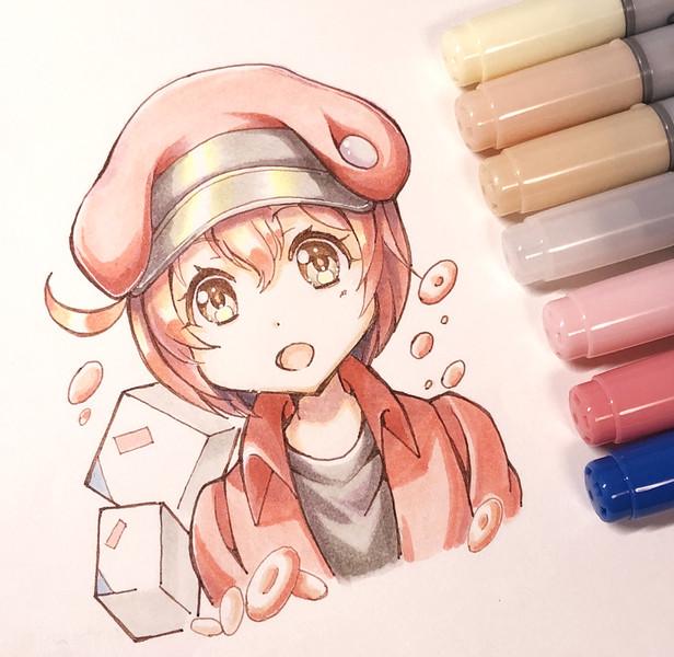 はたらく細胞の赤血球ちゃん【コピック】