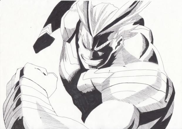 オールマイトボールペンサインペン たわわ さんのイラスト