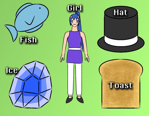 FIGHT (Fish, Ice, Girl, Hat, Toast)