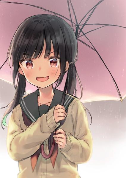 傘を忘れたらドヤ顔で自分の傘にいれてくれるおさげセーラーちゃん