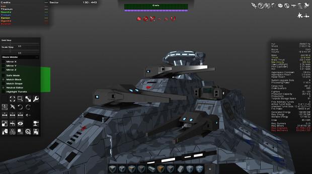 UFBS-010 ヘイムダル級宇宙戦艦 ゲーム内戦闘アニメ『艦橋と主砲』再現(進捗度70%程度)