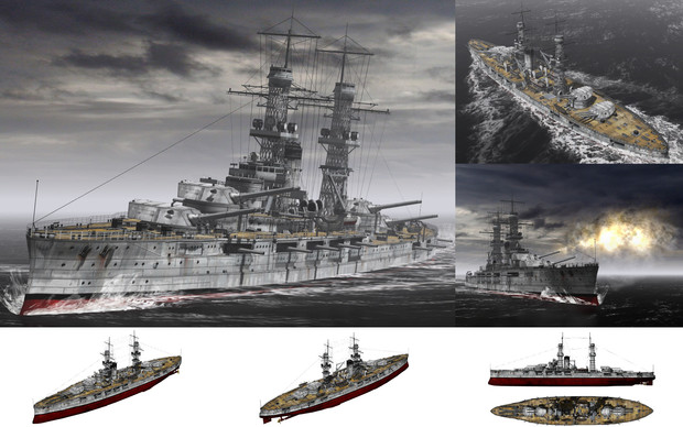 MMD用モブ超弩級戦艦1920(モブラホマ)セット