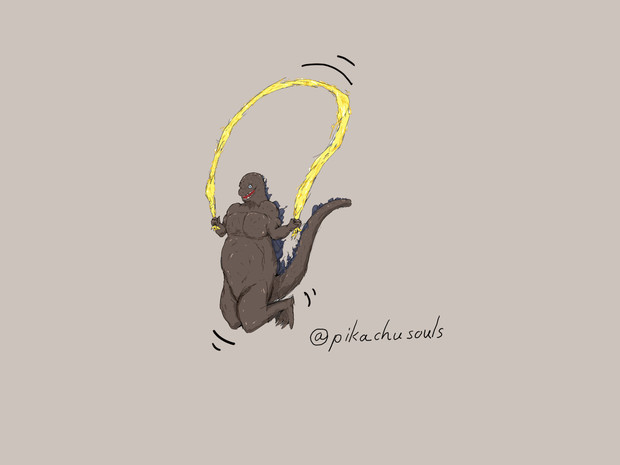 ゴジラ、ギドラで縄跳び