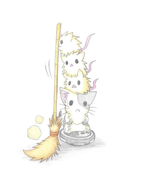 掃除するにゃんことネズミ
