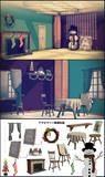 【MMD】シンプルクリスマスの部屋+単品アクセサリ