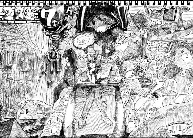 2B鉛筆で結月ゆかり描いてみた【その45】琴葉茜+琴葉葵+弦巻マキ+東北きりたん+ナマコブシ