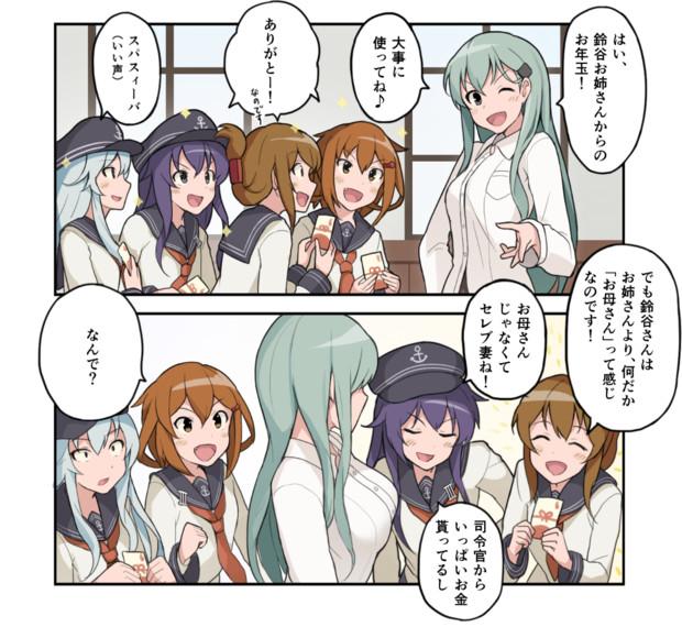 駆逐艦にお年玉をあげる鈴谷