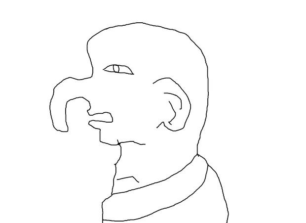 長い鼻の男性