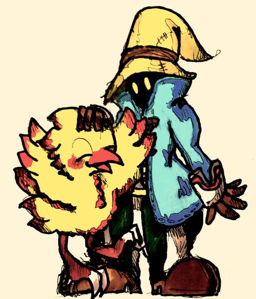 初描き Final Fantasyのチョコボとビビ 描いてみた