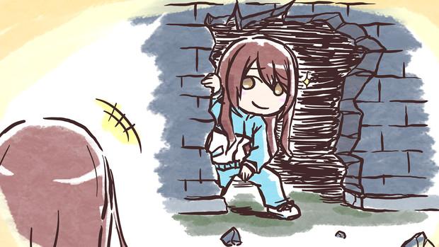 甘奈が捕まっている檻の壁を壊して助けに来た甜花ちゃん