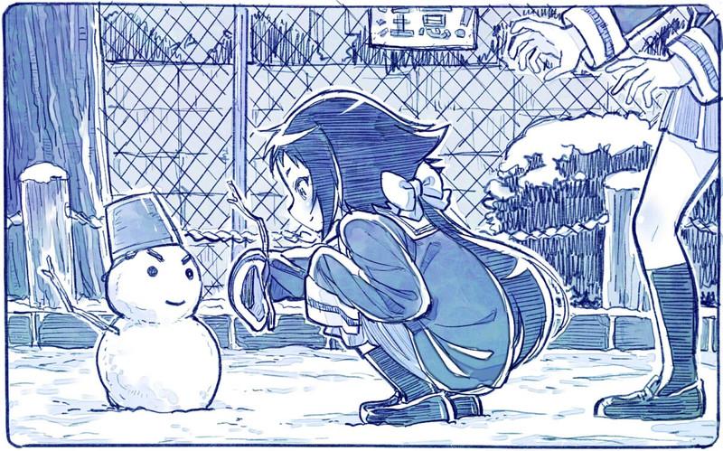公園で雪だるまを作る真白