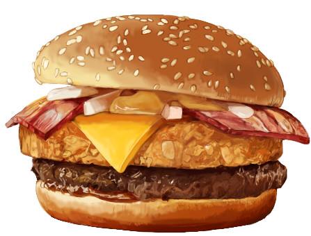 ベーコンとチーズとフライのハンバーガー