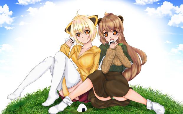 タヌキとキツネ 擬人化してピクニック!