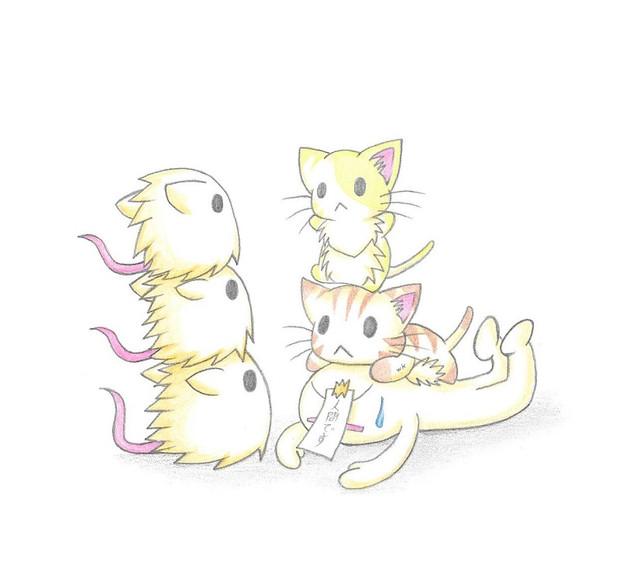 三匹のネズミとにゃんこ