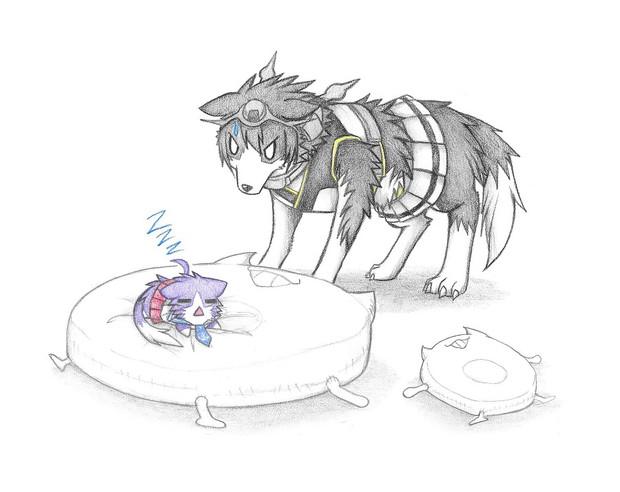 酒匂猫に寝る場所を取られた長門犬