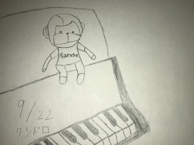 まらしぃさんのピアノを聴きながら描いたイラスト